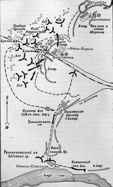 Карта Волочаевского сражения
