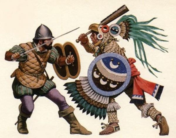 Бой испанского конкистадора с индейцем