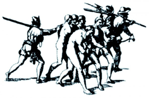 Конкистадоры гонят индейцев в рабство