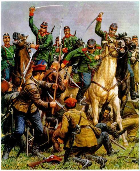 Сражение русских драгун с поляками 1863