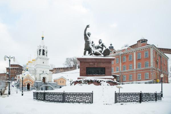 Площадь Народного Единства под снегом