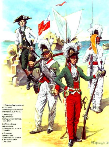 Приморские гренадеры и обер-офицер ВМФ 1790