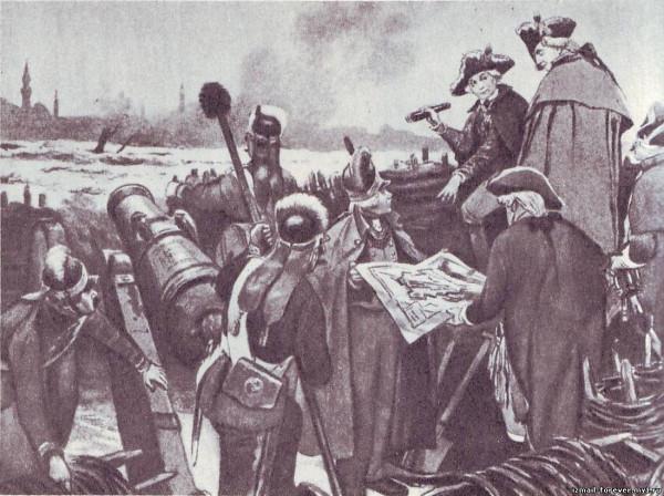 Суворов и Кутузов на батарее перед Измаилом