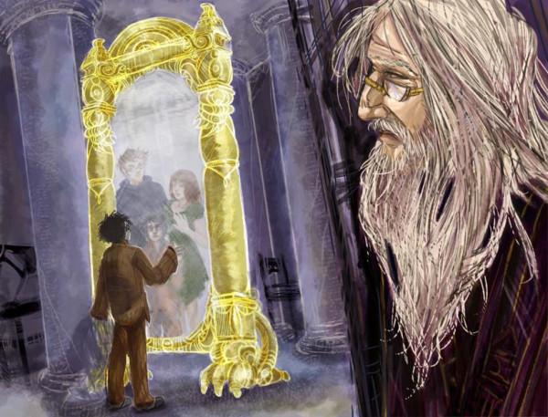 Дамблдор и Гарри у зеркала Еиналеж