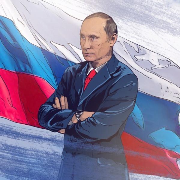 Путин под флагом - портрет