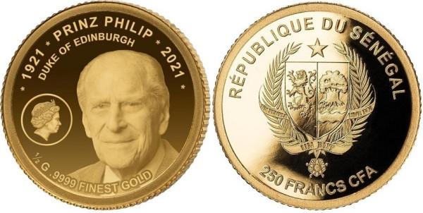 Золотая монета Сенегала в честь принца Филиппа