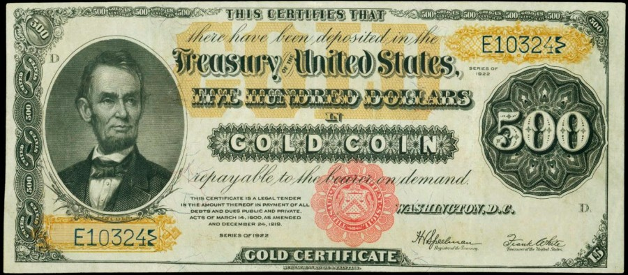 US_Currency_1922_500_Dollars_Gold_Certificate