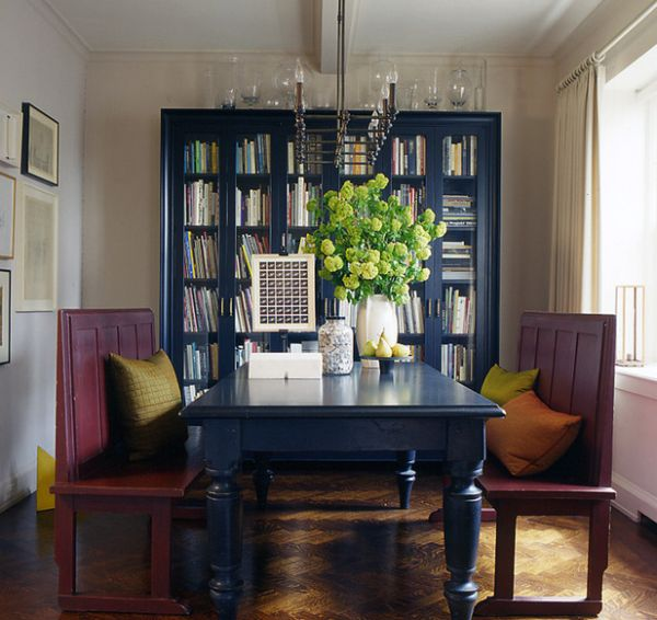 Beautiful-Bookcase-In-Navy-Blue-Make-For-A-Lovely-Backdrop-In-The-Dining-Room