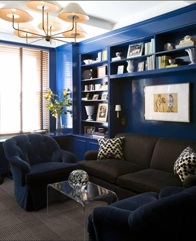 amanda nisbet design den family room built in book shelves bookshelves blue lacquer