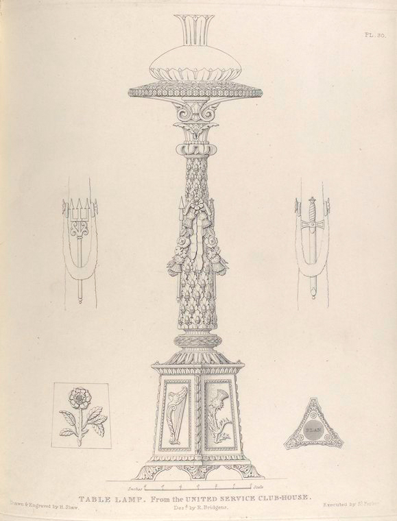 Table lamp, from the United Service Club-house. (1836)