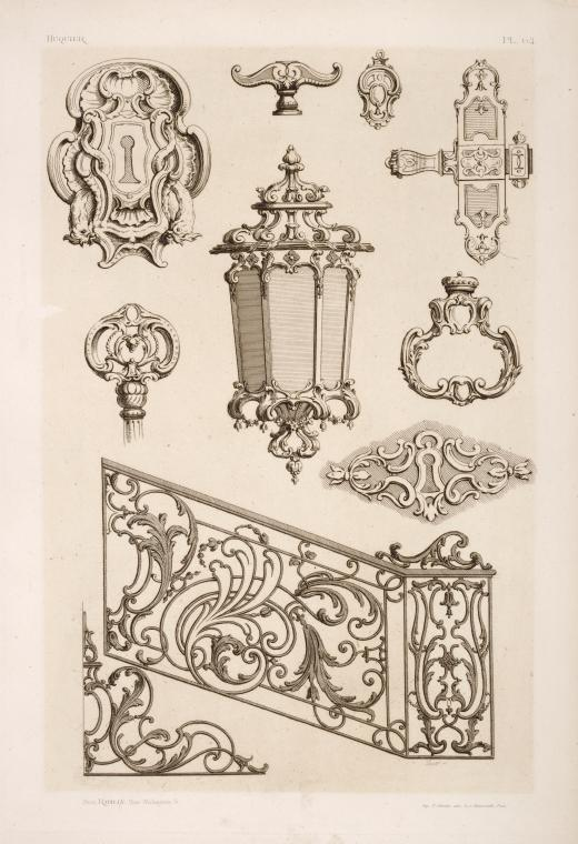 [Designs for keyholes, lamp, gate