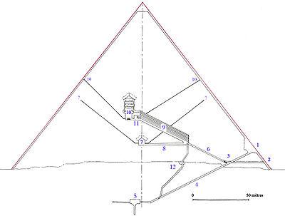 Поперечный вид пирамиды Хеопса