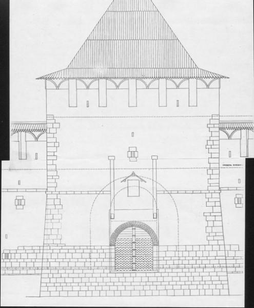 нн Главный фасад - Реконструкция первоначального облика Зачатской башни. Северный фасад. (Арх. И.С. Агафонова)