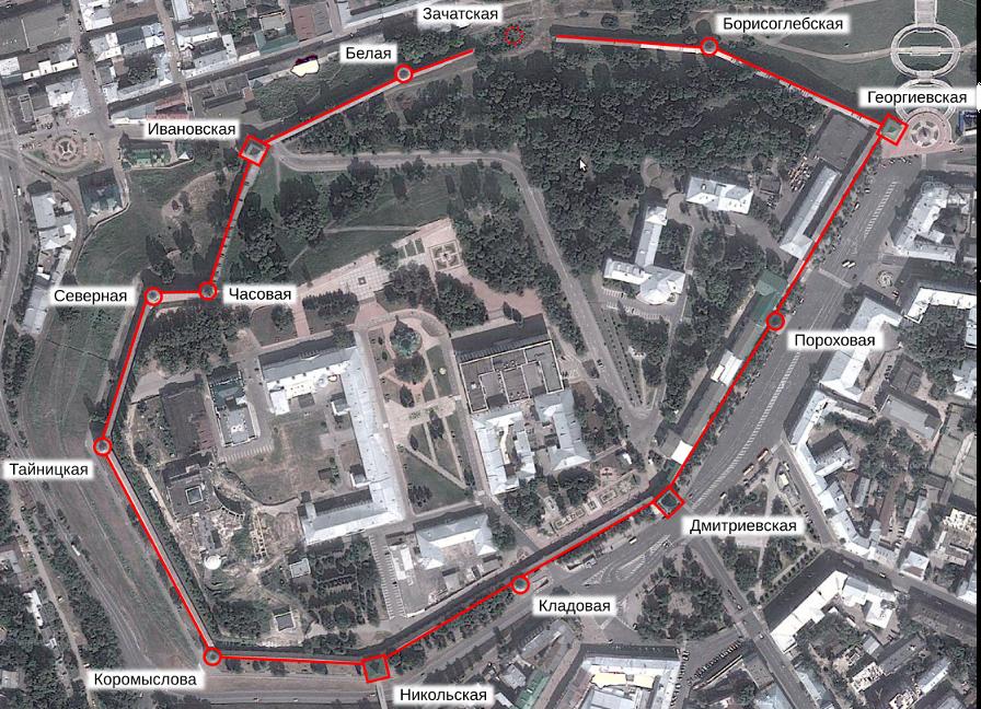 Схема кремля на фотографии