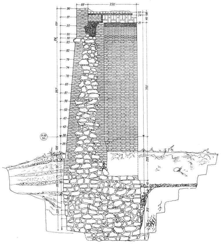 Белая башня. Конструктивный разрез стены между Белой и Ивановской башнями по обмеру 1950г.