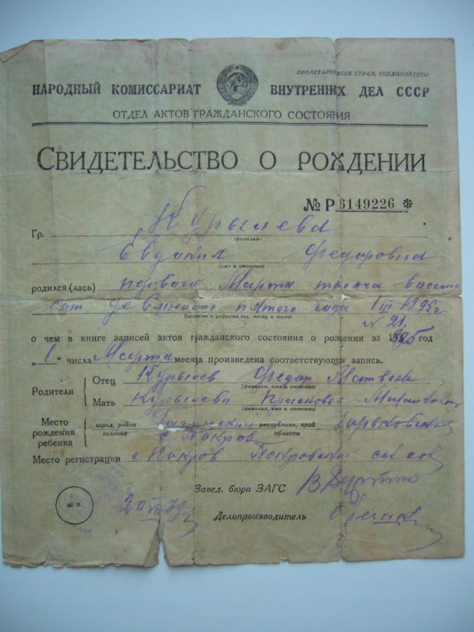 Свидетельство о рождении Курылёвой Евдокии Федоровны