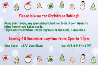 Please join me for Christmas Baking!!Bring your recipe, any special ingredients or tools, & containers to bring home fresh baked goods.  I'll provide the kitchen, staple ingredients and tools, & munchies.Sunday 16 December anytime from 2pm to 10pm.My house, email minikin at livejournal dot com to RSVP and get directions.