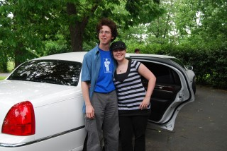 Critter and his friend K, in front of the limo
