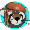 Renata Raccoon icon with bowl of spaghetti upended over her head.
