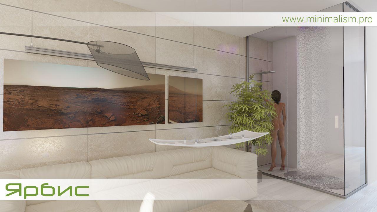 Минимализм и стеклянные стены в ванной