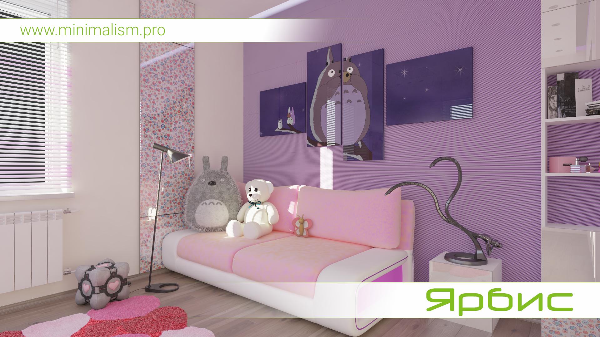 Дизайн детской комнаты для девочки в стиле минимализм