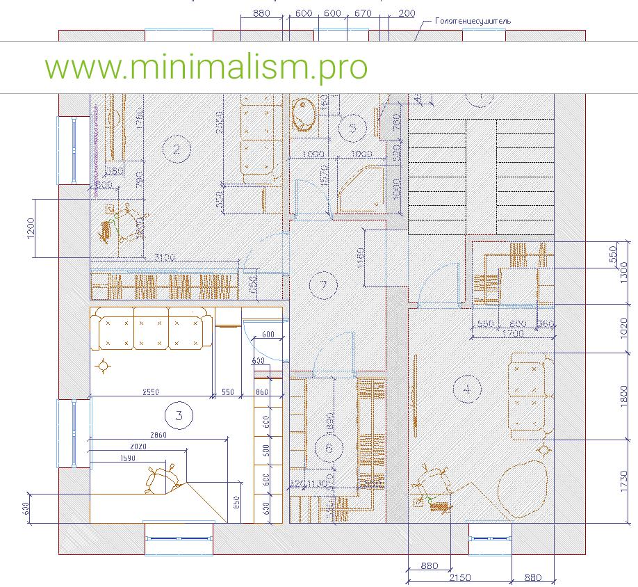 Планировка детской комнаты для девочки в стиле минимализм
