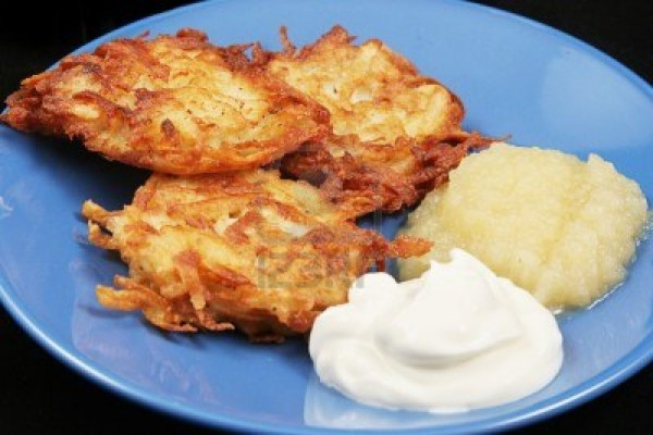 16604217-potato-latkes-for-hanukkah-served-with-sour-cream-and-applesauce