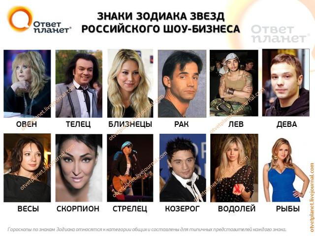Знаки Зодиака звезд российского шоу-бизнеса