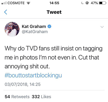 Kat Graham lashes out at her fans, and sets her twitter to