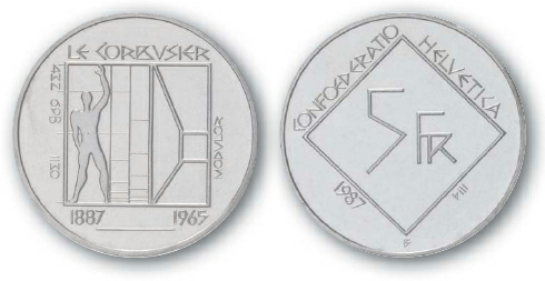 1989 BEST TRADE Switzerland, 5-Franc, Cupronickel, Centennial of Le Corbusier