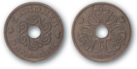1992 BEST TRADE Denmark, 5-Kroner, Cupronickel, Queen Margrethe II Monogram