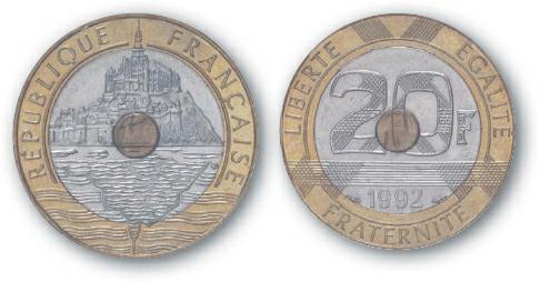 1993 BEST TRADE France, 20-Franc, Tri-Metallic, Mont Saint Michel