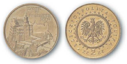 1998 BEST TRADE Poland, 2 Zlote, Brass, Pieskowa Skala Castle