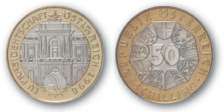 2000 BEST TRADE Austria, 50 Schilling, Bi-Metallic, Austrian Presidency of the European Union