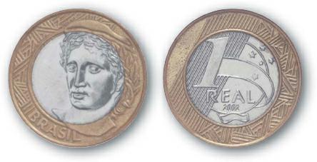 2004 BEST TRADE Brazil, 1 Real, Bi-Metallic, Liberty