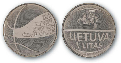 2013 BEST TRADE National Bank of Lithuania, 1 Litas, Copper-Nickel, Basketball