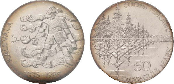 1987 Finland, 50-Markkaa, Silver, Kalevala National Epic