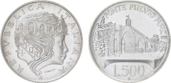1993 Italy, 500-Lire, Silver, 2,100th Anniversary of Ponte Milvio Bridge