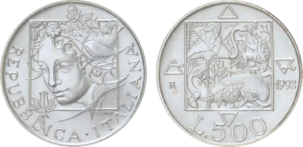 1994 Italy, 500-Lire, Silver, Flora and Fauna