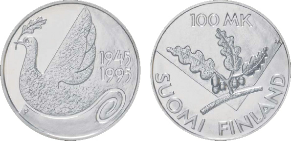 1997 Finland, 100 Markkaa, Silver, 50th Anniversary of the United Nations