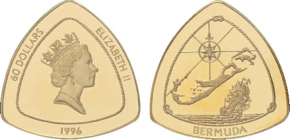 1998 Bermuda, 60 Dollars, Gold, Bermuda Triangle