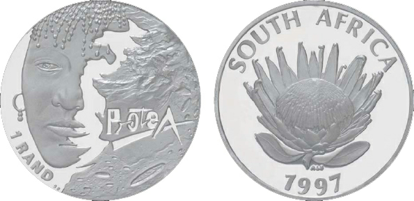 1999 South Africa, 1 Rand, Silver, Women of South Africa