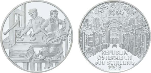 2000 Austria, 500 Schilling, Silver, Book Printing