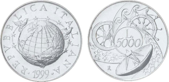 2001 Italy, 5,000 Lire, Silver, World Encircled by Birds and Stars