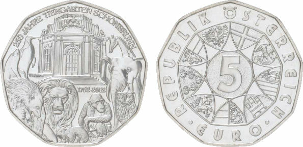 2004 Austria, 5 Euro, Silver, Schoenbrunn Zoo