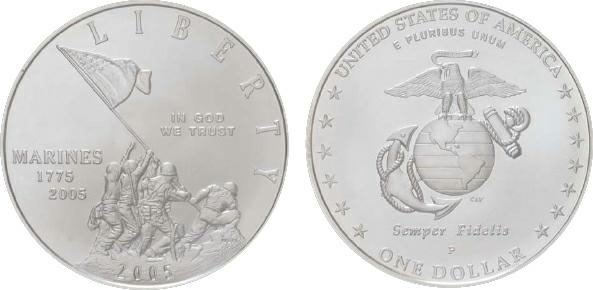2007 United States, 1 Dollar, Silver, U.S. Marine Corps