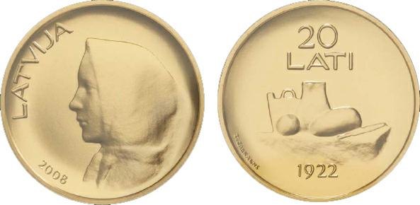 2010 Latvia, 20 Lati, Gold, Coins of Latvia