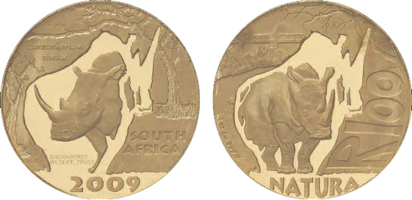 2011 South Africa, 100-Rand, Gold, White Rhino