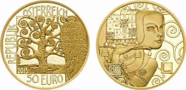 2015 Austrian Mint 50 Euro, Gold, Gustav Klimt