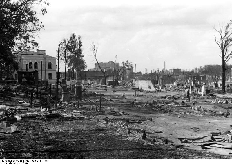 Минск разрушенный июль 1941